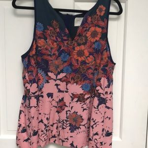 Anthropology Floral sleeveless blouse